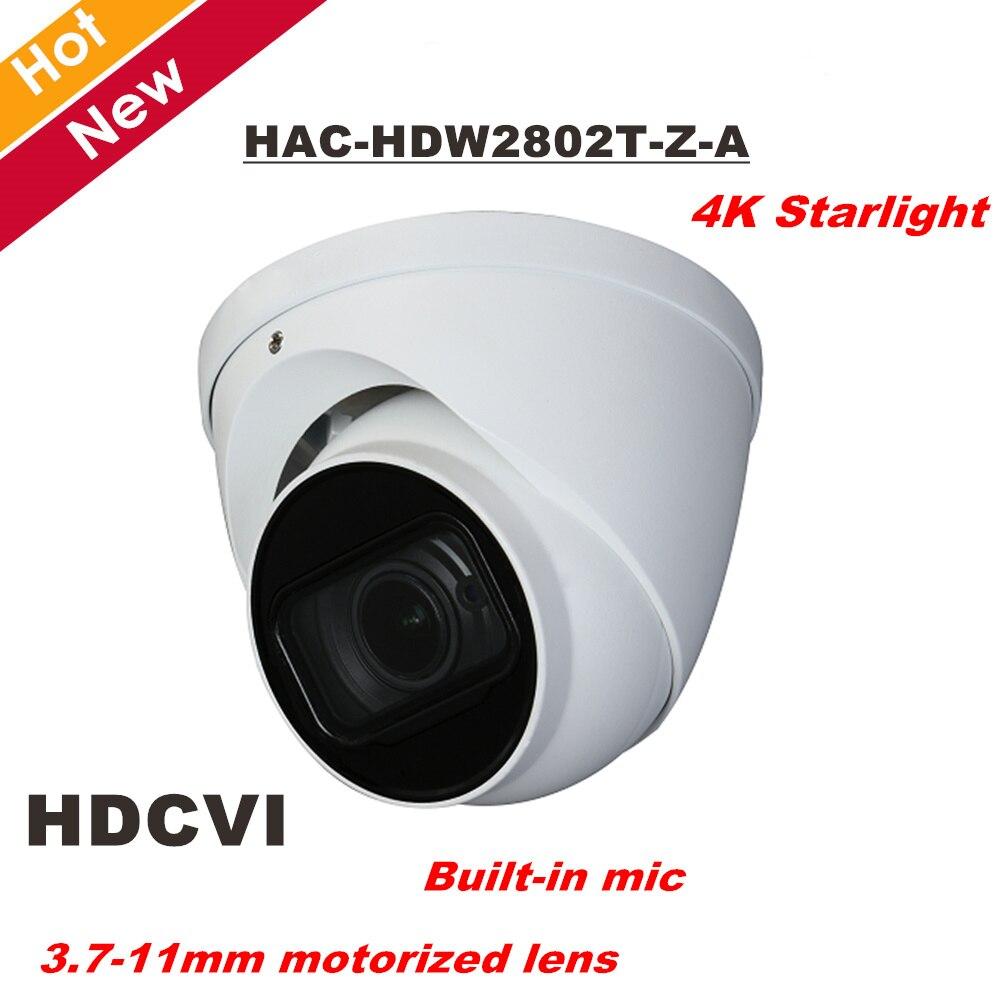 DH 4 k Starlight HDCVI Caméra Smart IR Dôme Caméra Construit en MIC 3.7-11mm objectif motorisé IR 60 m HAC-HDW2802T-Z-A Sécurité cam