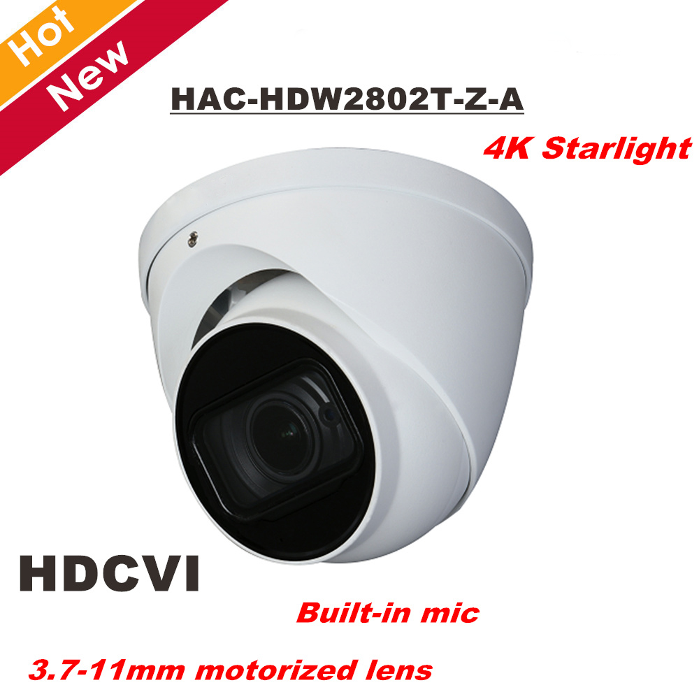 DH 4K Starlight HDCVI Camera Smart IR Dome Camera Built in MIC 3.7-11mm motorized lens IR 60M HAC-HDW2802T-Z-A Security cam dahua hdcvi hac hdw1200em a 2mp dome camera built in mic cmos 1080p ir 50m ip66 dh hac hdw1200emp a security camera