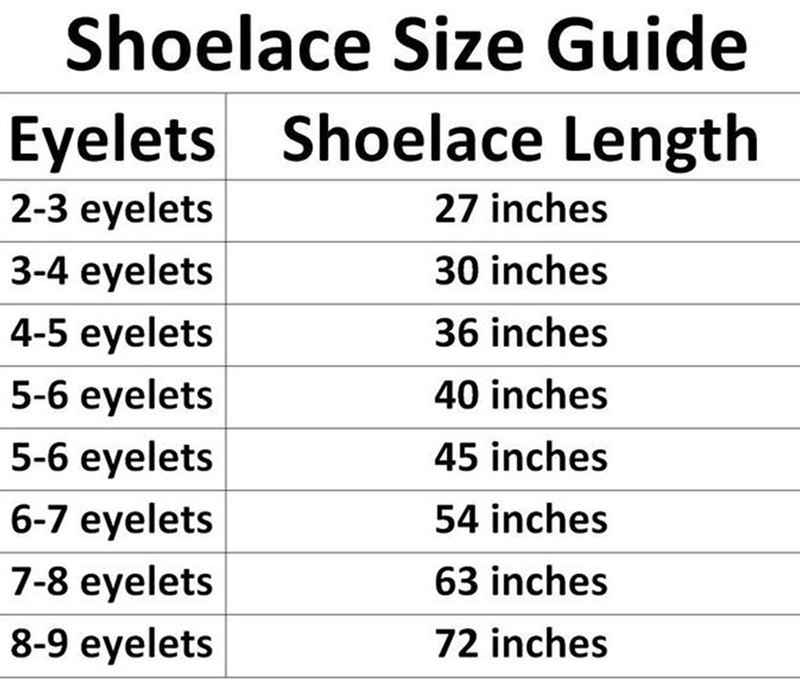 Shoelace Sizing Guide Laces Out