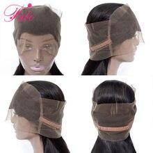 Fabc cabelo brasileiro em linha reta remy cabelo 360 laço frontal 10-20 polegadas 100% cabelo humano parte livre suíço fechamento do laço preto natural