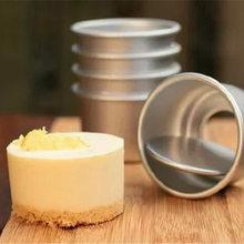 Molde de bolo de liga de alumínio, 5 peças 6*4cm diy mini forma de bolo removível fundo redondo pudim assar bolo mini panela de cupcake, utensílios de cozinha