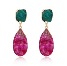 New Design Natural Stone Romantic Earrings For Girls Korean Style Single Red Green Crystal Dangle Gift