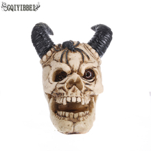 GQIYIBBEI  Chop Horns Resin Craft Ornaments Terror Skull Ornament Bar Personality Halloween Gifts