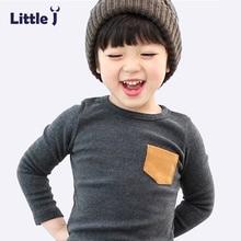 Sólido macio Crianças Meninos T Shirt Doce Cor Manga Comprida Meninas do bebê Camisetas de Algodão T-Shirt O-Neck Tee Tops Menino das Crianças roupas