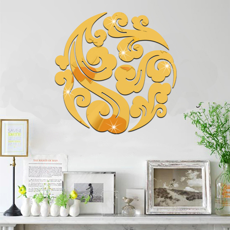 Diy Acrylic mirror wall stickers for Living Room 3D Home Decor ...