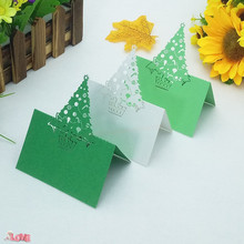 50 Pcs Exquisite Christmas tree shape wedding table card holiday decoration Place seat custom 5ZZ15