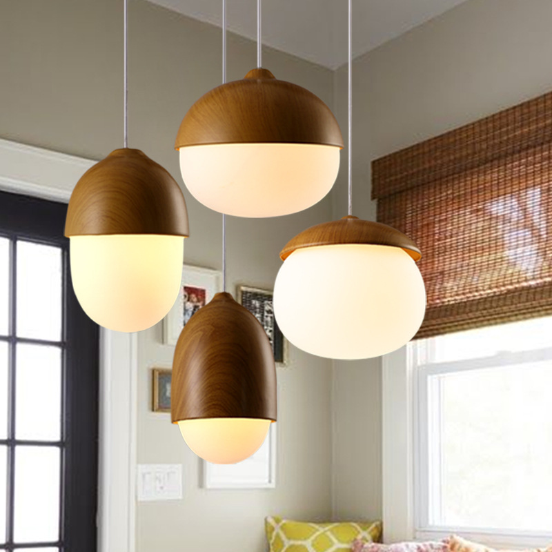 Nordic  Single-headed Nuts Glass Pendant Lights Kids Room Decor Wooden Grain Iron Pendant Lamp Cafe Restaurant Lighting FixturesNordic  Single-headed Nuts Glass Pendant Lights Kids Room Decor Wooden Grain Iron Pendant Lamp Cafe Restaurant Lighting Fixtures