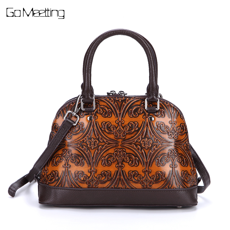 Brand Genuine Leather Vintage Brush Color handbags Totes embossed Women Shell Shoulder Bag portable hand bag Crossbody bags New