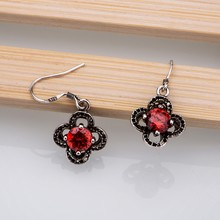 Silver Plated earrings , Silver Plated fashion jewelry , petaline red black /cfdakwka dwlamnsa LQ-E102(China)