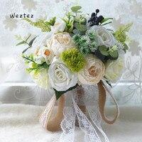 Gorgeous Romantic Roses Wedding Bouquet for bridesmaids Bridal Bouquets White Pink Artificial Flowers Supplies D662