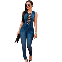 Women Denim Jumpsuit Casual Sexy Bandage Sleeveless Bodycon Jeans Jumpsuits Femininity Elegant Overalls Womens Rompers