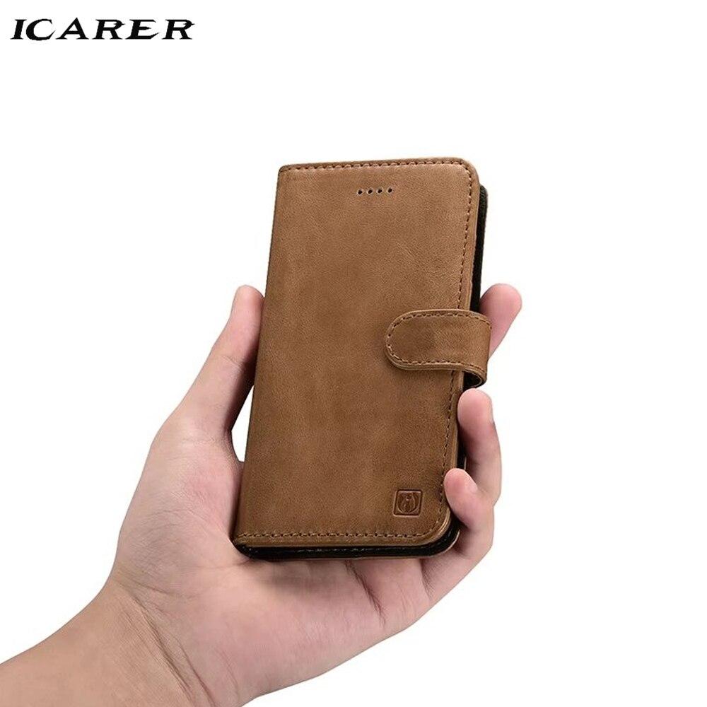 ICarer Pour Apple iPhone 7 8 Plus Étui Magnétique De Luxe Rigide En Cuir Véritable porte-carte Flip Arrière Protecteur housse de téléphone