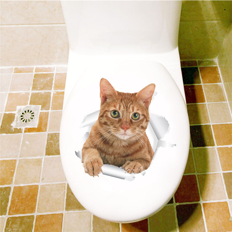 3d effect Cat Wall Stickers Home Decorations Decals Toilet Washroom WC Decor Animals Broken Hole Mural Art