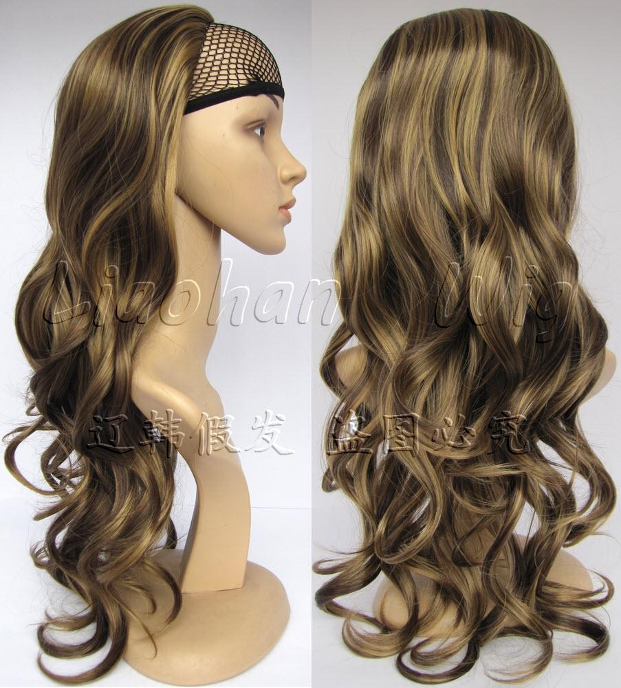 Fashion Highlight Half Wig Long Wavy Wig Hair Fall Synthetic Hair