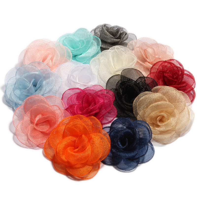 10PCS 14colors 3.5cm Newborn Handmade Gauze Layered Hair Flower Vintage Rolled Rose Fabric Flowers for Kids Hair Accessories metting joura vintage bohemian ethnic tribal flower print stone handmade elastic headband hair band design hair accessories