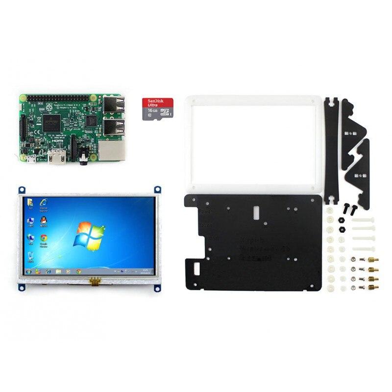 Waveshare Raspberry Pi 3 Model B Development Kit + 5inch HDMI LCD (B) + Bicolor case + 8GB Micro SD card RPi3 B Package E