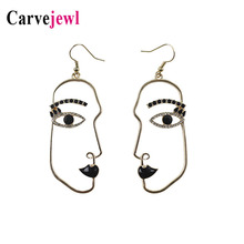 Carvejewl Face Hollow Earrings Abstract stylish Hollow Out Face Oval Earrings For Women Jewelry rhinestone enamel glaze earrings stylish rhinestoned bow hollow out bracelet for women