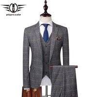 Plyesxale корейский клетчатые костюмы для Для мужчин Slim Fit 3 предмета Жених Свадебный костюм брендовая одежда Для мужчин s Бизнес Костюмы Высокое