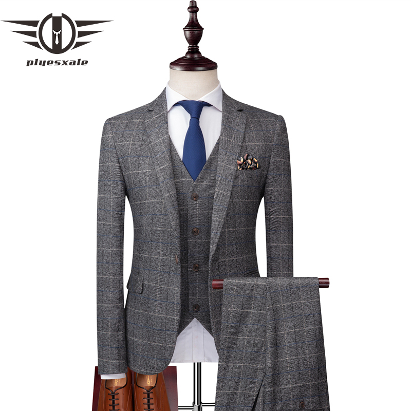 Plyesxale Korean Plaid Suits For Men Slim Fit 3 Piece Groom Wedding Suit Brand Clothing Mens Business Suits High Quality Q183