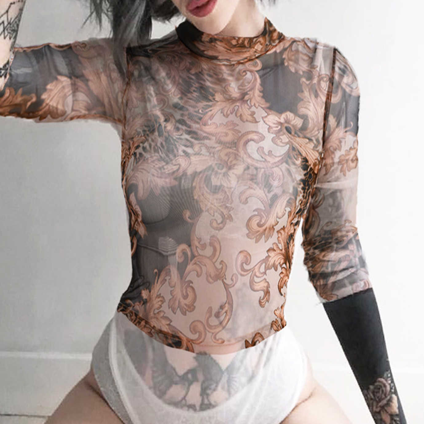 6ec70935b0f Sexy Turtleneck Tulle Mesh Lace Tattoo Crop Top Bandage Short Tee Party Club  Streetwear Gothic Print