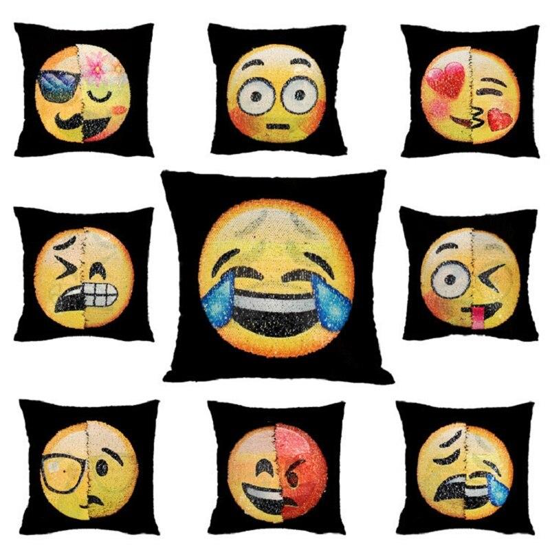 DIY Reversible Sequin Facial Expression Pillow Case Changing Face Emoji Cushion Cover Pillow cases Decorative Pillowcase