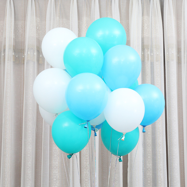 10pcs 10inch Tiffany Blue White Wedding Birthday Party Decoration