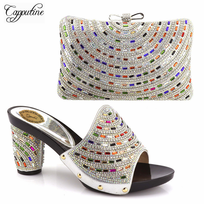 Capputine New Arrival Rhinestones Matching Shoes And Bag Set Fahion Women High Heels Sandals Shoes And Bag Set For Party capputine new arrival fashion shoes and bag set high quality italian style woman high heels shoes and bags set for wedding party