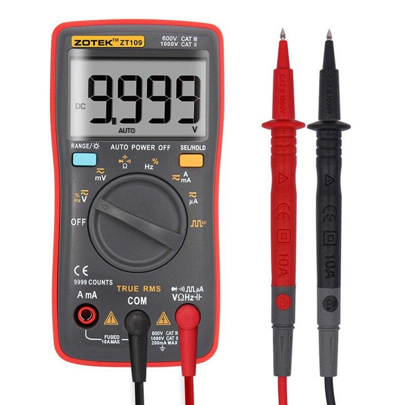 ZT109 Palm-size True-RMS Digital Multimeter 9999 Counts Square Wave Backlight AC DC Voltage Ohm Auto/Manual Mini Pocket Meter