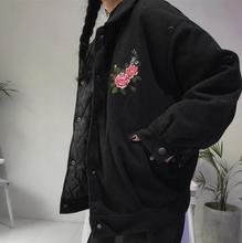 Korean version Harajuku ancient roses embroidered loose long coat