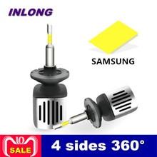 Inlong автомобиля H7 H4 светодиодный лампы 9005 9006 H11 H8 D2S D1S D3S H1 светодиодный светильник SAMSUNG CSP 60 Вт 11200LM фары противотуманные фонари 6500 K