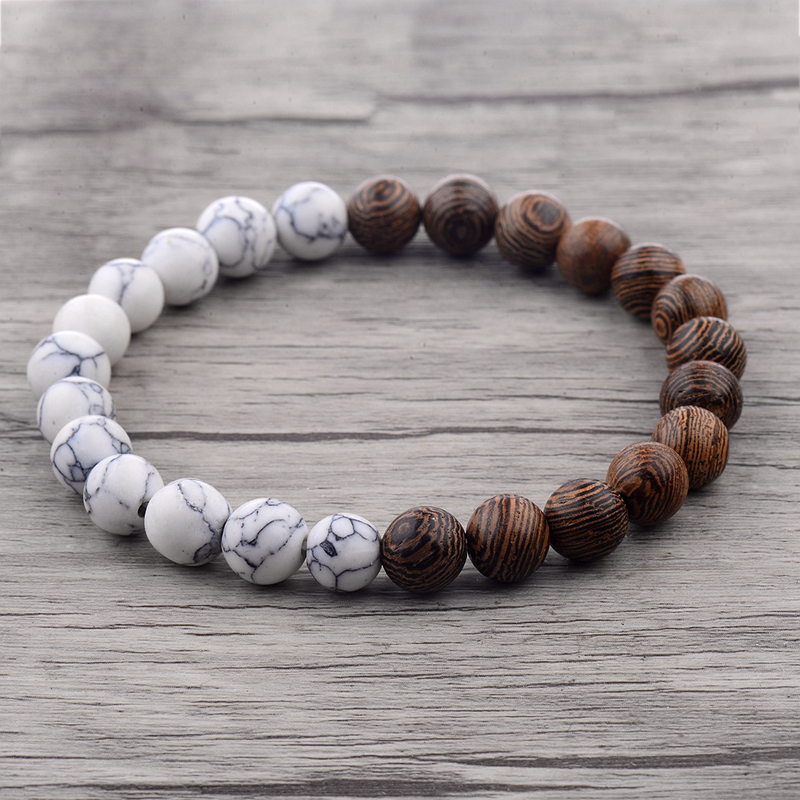 8mm New Natural Wood Beads Bracelets Men Black Ethinc Meditation White Bracelet Women Prayer Jewelry Yoga Bracelet Homme HTB1OdqVaffM8KJjSZPfq6zklXXaW