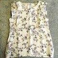 Camisa tanque manga pétala flores do vintage print top