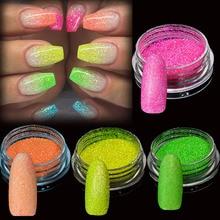1 Box Fluorescent Nail Glitter Sequins Colorful Powder Dust Sparkle Pigment Tips Manicure Art Decoration BEYG01-12
