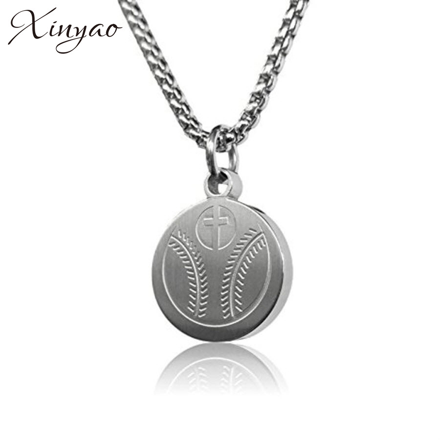 Xinyao Stainless Steel Football Baseball Pendant Necklace For Women Men Long Chain Statement Necklace Sports Jewelry Collier