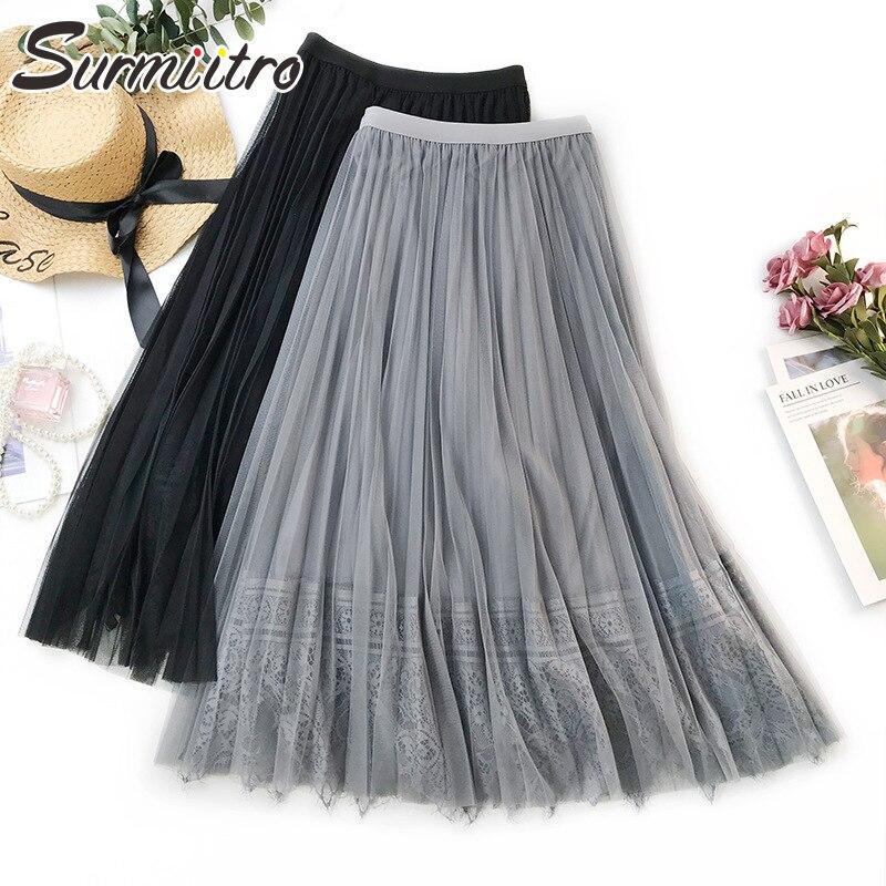 Surmiitro 3 Layers Lace Patchwork Tulle Skirt Women 2019 Spring Summer Elegant Korean Long High Waist Sun School Skirt Female