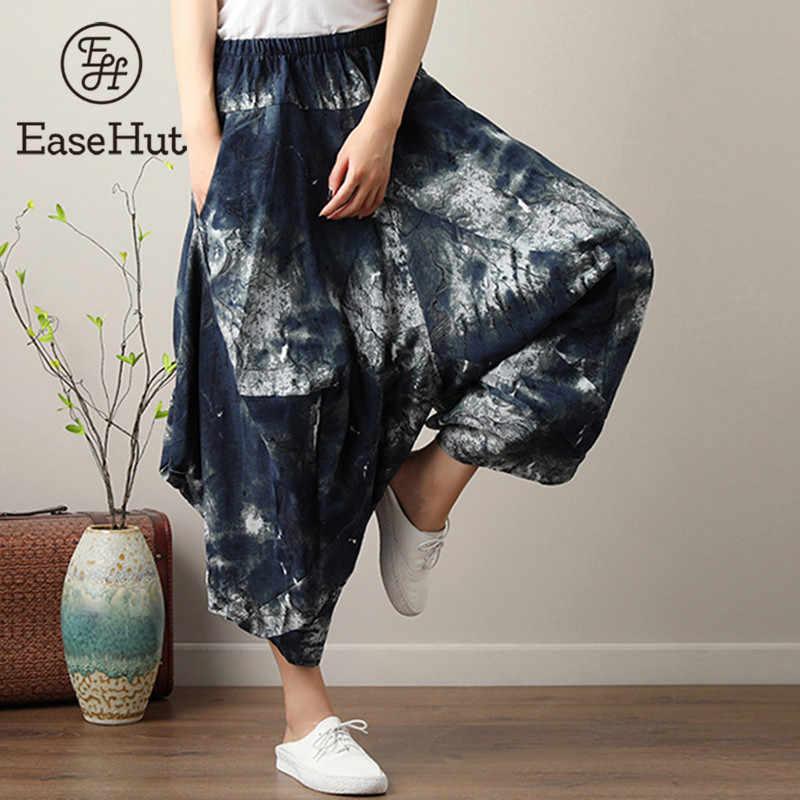 5da78787e8 EaseHut 2019 Summer Women Loose Cotton Linen Baggy Pants Print Hight Elastic  Waist Casual Cropped Harem