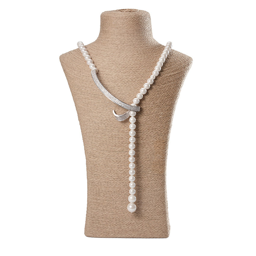 White Long Pearl Necklace Natural Shell Pearl Beads Pure Colour Silver Hook Necklace Jewelry For Women