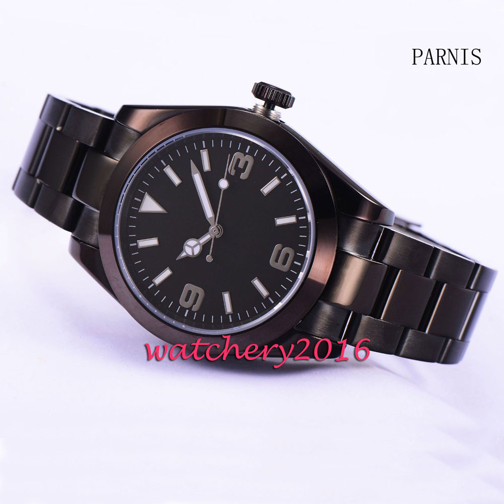 Parnis 40mm black dial sapphire glass black PVD case miyota mens watches top brand luxury automatic mechanical Mens WatchParnis 40mm black dial sapphire glass black PVD case miyota mens watches top brand luxury automatic mechanical Mens Watch