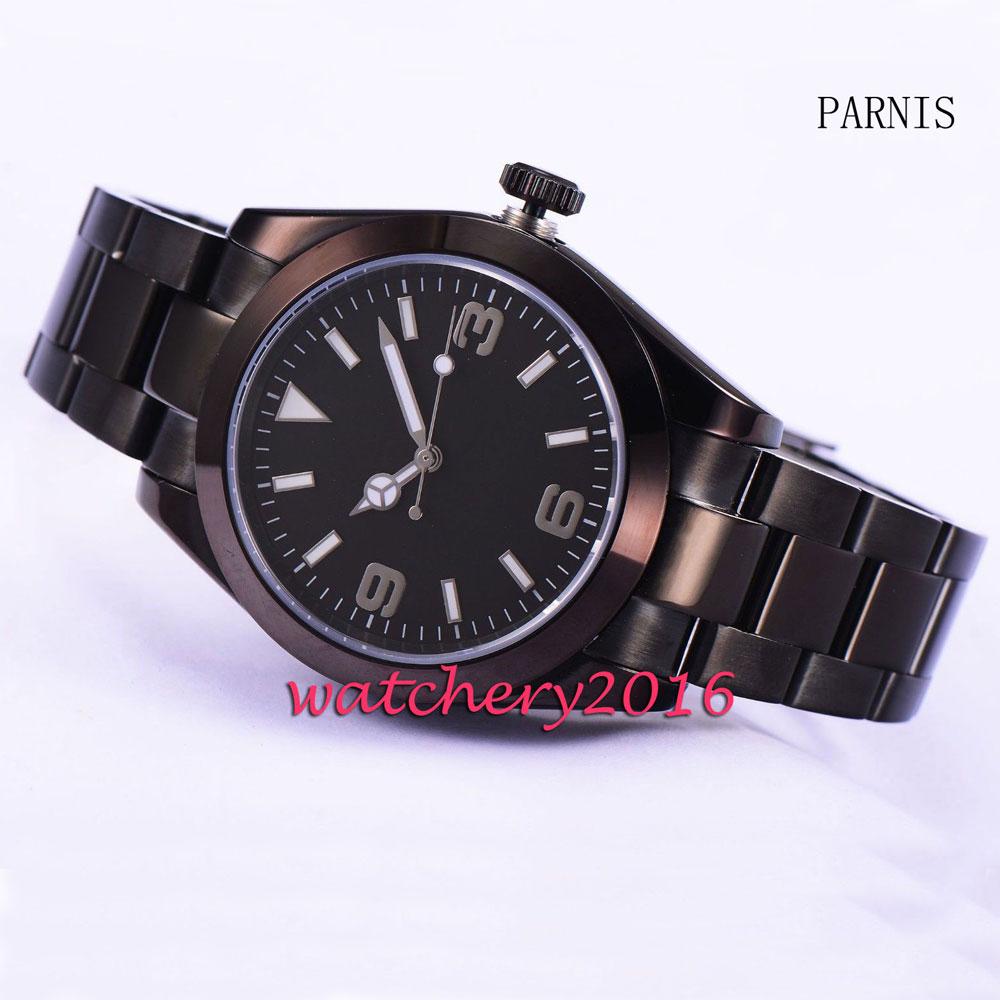 купить Parnis 40mm black dial sapphire glass black PVD case miyota mens watches top brand luxury automatic mechanical Men's Watch по цене 6095.34 рублей