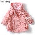 Девочки весна и осень плюс бархат куртка с капюшоном детская хлопок розовый пальто 66 - 90 см высота