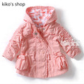 Bebê meninas primavera e outono além de veludo com capuz jaqueta crianças casacos de algodão de 66 - 90 cm de altura