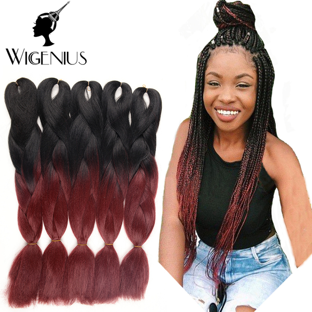 Ombre Kanekalon Synthetic Hair Expression Braiding Brands Two Tone Burgundy Jumbo Braid African Box
