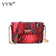 Red Snake Women Bag Chain Shoulder Bags Small Crossbody For Pu Leather Female Luxury