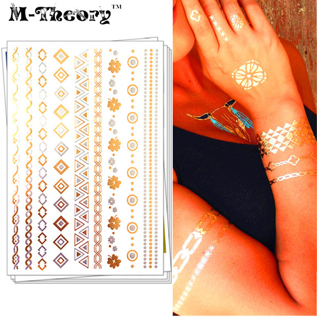 1c2d0eaa7 M theory Metallic 3D Gold Choker Temporary Fake Tattoos Body Art Floral  Bracelet Flash Tatoos Sticker Henna Swimsuit Makeup Tool-in Temporary  Tattoos from ...