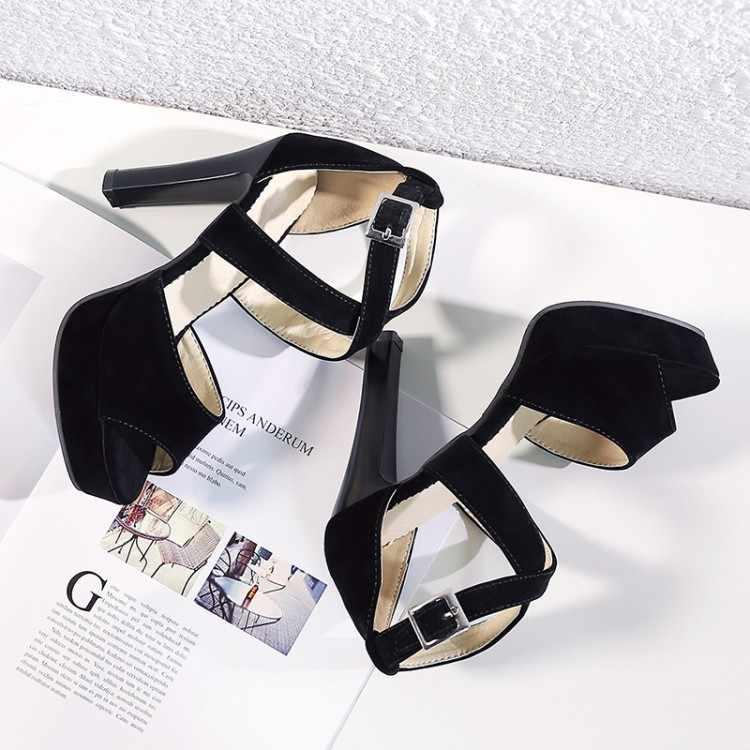 Big Size 9 10 11-14 di estate delle signore sandali della piattaforma delle donne scarpe da donna della bocca dei Pesci fibbia con croce fibbia posteriore della chiusura lampo