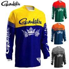 Новинка, Мужская одежда для рыбалки GAMAKATSU, спортивная одежда для рыбалки на открытом воздухе, анти-УФ, быстросохнущая дышащая футболка с длинным рукавом для рыбалки