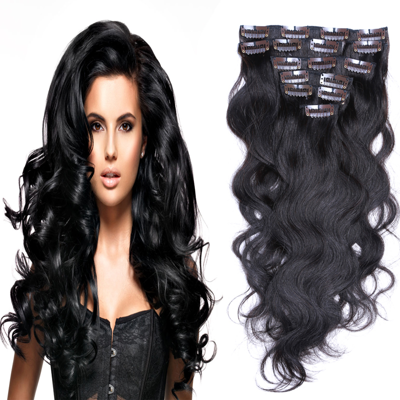 Aliexpress buy african american clip in human hair extension aliexpress buy african american clip in human hair extension 8pcs natural clip in hair extensions body wavy clips hair clip ins from reliable hair pmusecretfo Choice Image