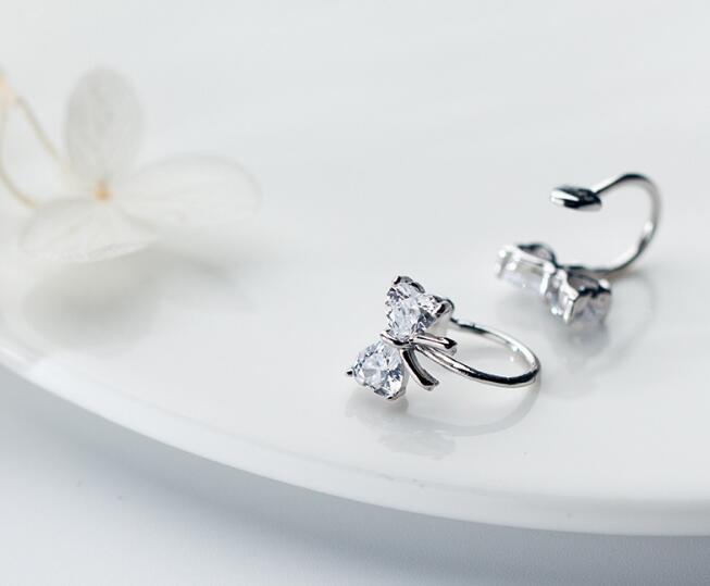GIRLS 100% Real. 925 Sterling Silver Fine Jewelry Clear CZ BOWKNOT Clip earrings (NO pierced) gtle1931