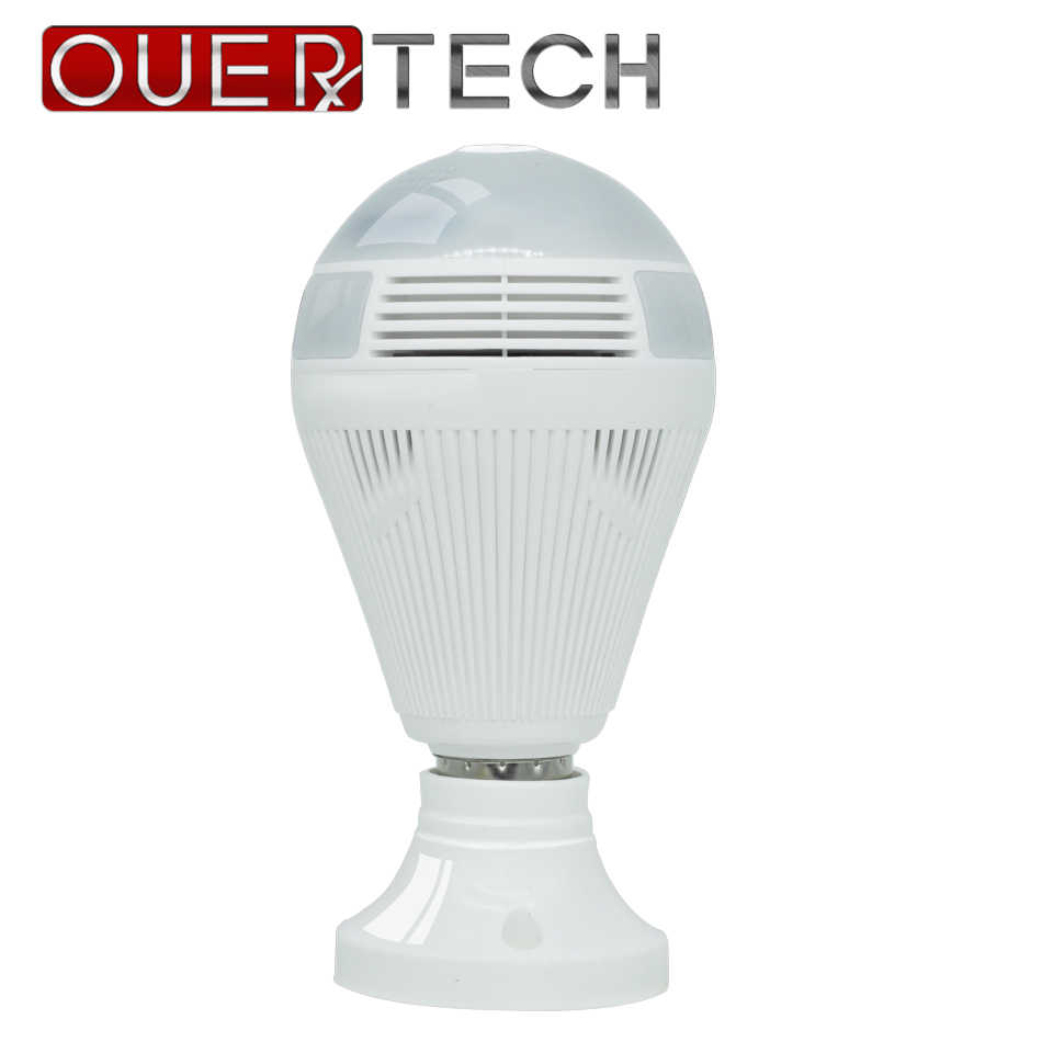OUERTECH 360 degree Two way audio white light bulb Panoramic  1080P Full Color Wireless Smart IP Camera  support 128g