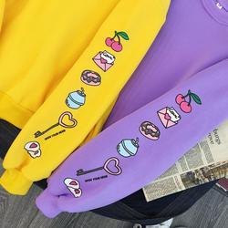 Sweet Purple Yellow Sweatshirt Cute Cake Milk Food Printed Pullovers Autumn Winter Warm Thick Fleece Hoodie Women Preppy Outwear 5